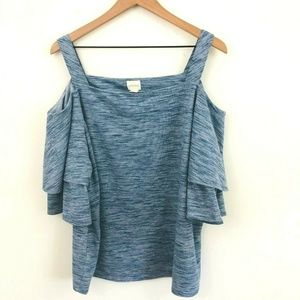 Chico's Off the Shoulder Heathered Blue Top XL